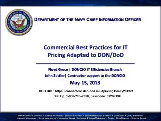 Commercial Best Practices for IT Pricing Adapted to DON/ DoD