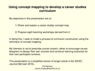 Using concept mapping to develop a career studies curriculum