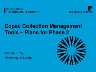 Copac  Collection Management Tools – Plans for Phase 2