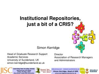 Institutional Repositories, just a bit of a CRIS?