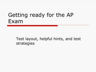 getting ready for the ap exam