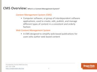 CMS Overview:  What is a Content Management System?
