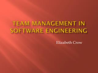 Team management in Software engineering