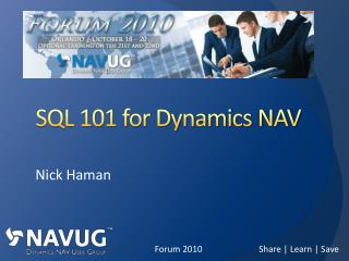 SQL 101 for Dynamics NAV