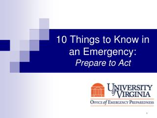 10 Things to Know in an Emergency: Prepare to Act