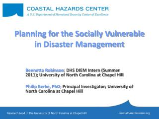 Planning for the Socially Vulnerable in Disaster Management