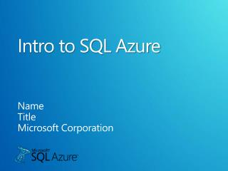 Intro to SQL Azure