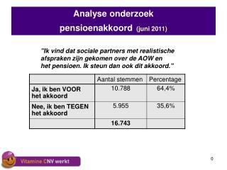 analyse onderzoek  pensioenakkoord juni 2011
