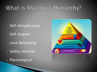 What is Maslow's Hierarchy?