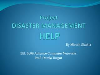 Project DISASTER MANAGEMENT HELP