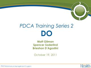 PDCA Training Series 2 DO