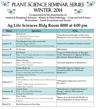 Plant Science Seminar Series Winter  2014