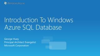 Introduction T o Windows Azure SQL Database