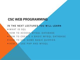 CSC Web Programming