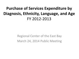 Purchase of Services Expenditure by Diagnosis, Ethnicity, Language, and Age FY 2012-2013
