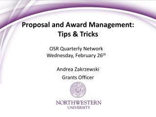 Proposal and Award Management:  Tips & Tricks