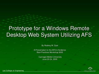 Prototype for a Windows Remote Desktop Web System Utilizing AFS
