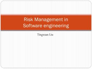 Risk Management in Software engineering