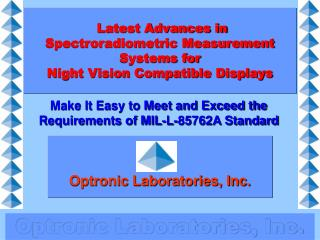 latest advances in spectroradiometric measurement systems for  night vision compatible displays