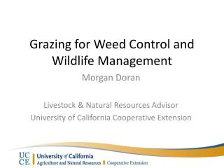 Grazing for Weed Control and Wildlife Management