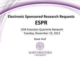 Electronic Sponsored Research Requests ESPR