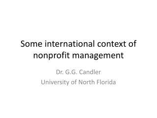 Some international context of nonprofit management
