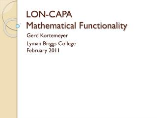 LON-CAPA Mathematical Functionality