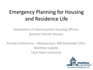 Emergency Planning for Housing and Residence Life