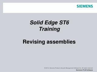 Solid Edge  ST6 Training Revising assemblies