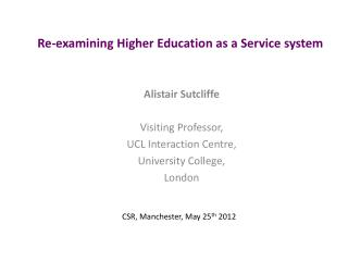 Re-examining Higher Education as a Service system