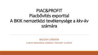 PIAC&PROFIT  Piacb?v�t�s exporttal A BKIK nemzetk�zi tev�kenys�ge a  kkv-kv  sz�m�ra