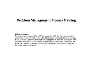 Problem Management Process Training