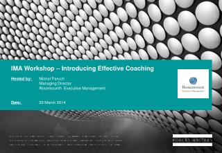 IMA Workshop – Introducing Effective Coaching