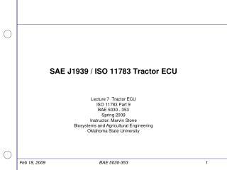 SAE J1939 / ISO 11783 Tractor ECU