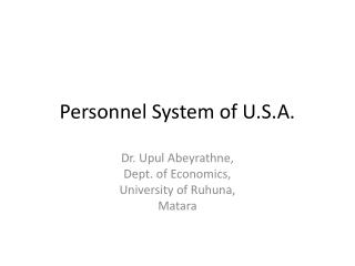 Personnel System of U.S.A.