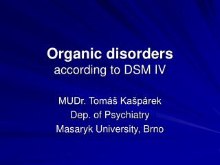 organic disorders according to dsm iv