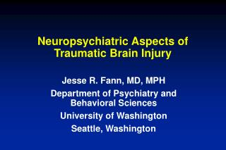 neuropsychiatric aspects of traumatic brain injury