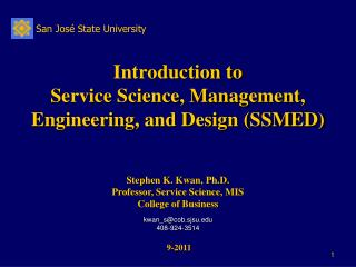 Introduction to Service Science, Management, Engineering, and Design (SSMED)