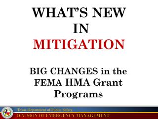 WHAT'S NEW  IN  MITIGATION