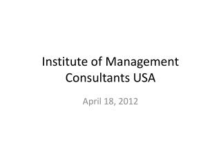 Institute of Management Consultants USA