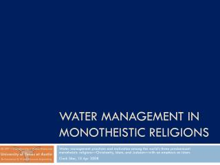 WATER MANAGEMENT IN MONOTHEISTIC RELIGIONS