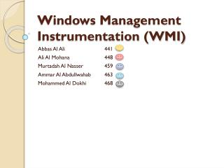 Windows Management Instrumentation (WMI)