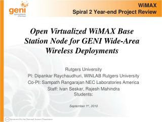 WiMAX Spiral 2 Year-end Project Review