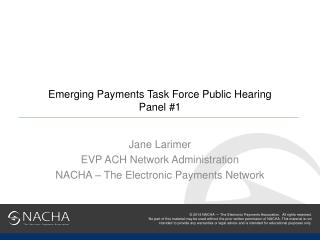 Emerging Payments Task Force Public Hearing Panel #1