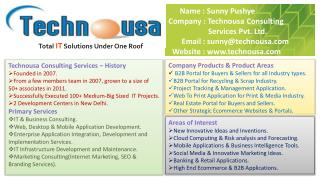 Name : Sunny Pushye Company : Technousa Consulting                                                      Services