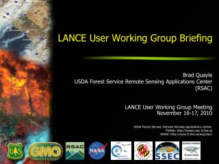 LANCE User Working Group Briefing