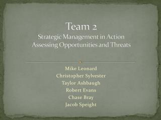 Team 2 Strategic Management in Action Assessing Opportunities and Threats