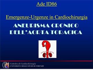 aneurisma cronico dell aorta toracica