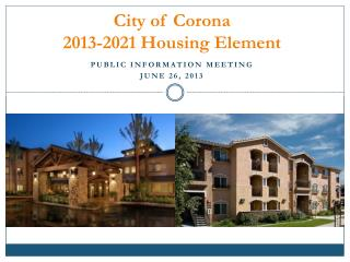 City of Corona 2013-2021 Housing Element