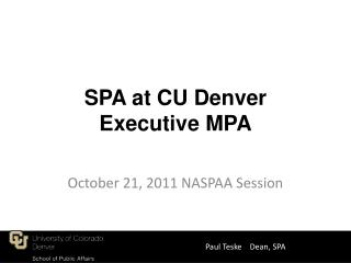 SPA at CU Denver Executive MPA